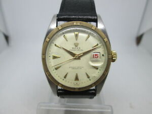 RARE ROLEX  OYSTER PERPETUAL 6075 BIG BUBBLEBACK 18K/STAINLESS STEEL MENS WATCH