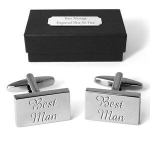 Best Man Cufflinks Personalised Gift Box Engraved Wedding Present Free Engraving