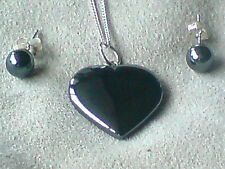 """STERLING SILVER HEMATITE 25mm HEART PENDANTon a16""""CHAIN with 4mmSTUDS £16.95 NWT"""