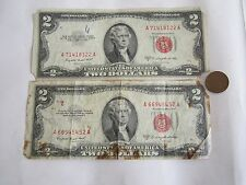 3=2+1 BIG SALE: Two $2 Bills(1953 Red Seal Paper Money)+1 Old Cent US Coin;RARE