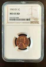 1963 D Lincoln Cent - NGC GRADED COIN - MS65 RED