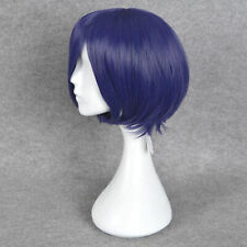 Wigs + Cap Straight Blue Purple Hair Wig Short Bob Halloween  Cosplay