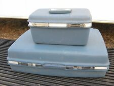 2 pc  Vintage Blue Samsonite Travel Luggage Aspen Makeup Bag great for decor