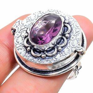 Amethyst Gemstone Handmade 925 Sterling Silver Jewelry Poison Ring Size 6.5 y744