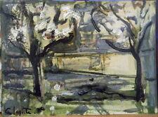 Georges LAPORTE (1926-2000) huile sur carton fin Arbres en Fleurs P1777