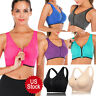 Women's Zipper Front Closure Sports Bra Racerback Yoga Bra with Removable Padded