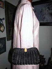 vtg Crown Hong Kong 1960s Navy Blue Straw Gold Chain Shoulder Bag Purse Handmade