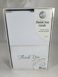 Wilton Thank You Cards Print Your Own 80 Sets in Box White/Silver