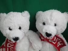 2 New Teddy Bears Twin Pair White Polar Bears Aero Red Scarf Aeropostale Plush