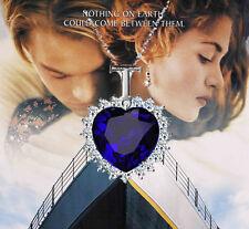 Moda Titánic Corazón del Océano Zafiro Cristal Azul Collar Colgante Grande Nuevo