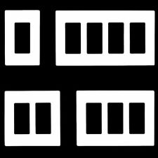 Screwless Decorative Wall Plate Outlet Covers for Switches, 1-5 Gang, White