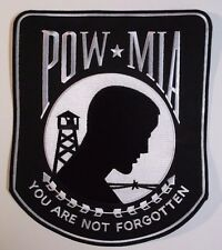 """POW-MIA iron-on BIKER PATCH Vietnam War MILITARY LARGE embroidered 11"""" Back Patc"""