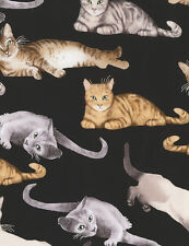 Timeless Treasures Cats C5751 Black Relaxing Cats  COTTON FABRIC