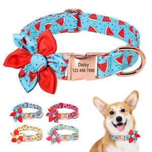 Custom Flower Girl Dog Collar for Female Dogs Floral Pattern Engraved ID Buckle