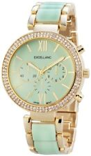 Excellanc Damen Armbanduhr 39 mm Metallarmband Türkis Gold Damenuhr Armband Uhr