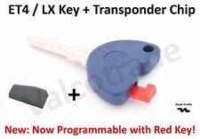Uncut Key Blank to fit Vespa ET4. LX, LXV 125, 200, 250, 300 + Transponder Chip.