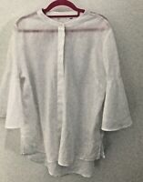 NEXT Ladies White Linen Button Down Shirt 3/4 Sleeves Size 16 Worn Once.
