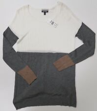 Allison Brittney Womans White Gray Boat Neck Sweater Small Long Sleeve New