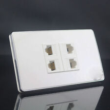 Wall Socket Plate 4 Port Network Ethernet LAN CAT5E Panel Faceplate 120mmx70mm
