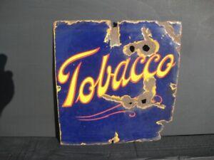 45953 Old Vintage Antique Enamel Sign Name Plate Notice Advert Man Cave Tobacco