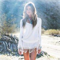 Tunique haut Bohème Blanc Gland Sexy Dress Mousseline de soie Lace Tunic
