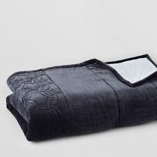 Pratesi Bedding Orbite Velvet Solid Cotton Reverse QUEEN Quilt Grey $1260 G5058