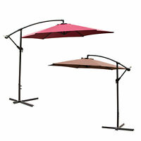 2 Color 10 FT Outdoor Patio Umbrella Offset Hanging Umbrella Beach Steel Tilt