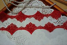 Beautiful Red Venise Lace Trim 36 mm Wide By The Metre