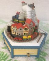 Enesco 1981 Alpine Village 2 Trains Music Box  #E7065