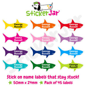 45 Personalised Stick On Name Labels Stickers School Kids Shark Shape NL11