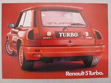 Prospectus RENAULT 5 TURBO 1 avec moteur centrale, environ 1983, 2 pages, brochés