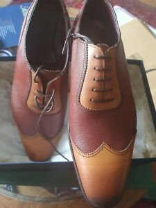 Herring / Alfred Sargent two-tone Shackleton 6 1/2 brown shoes MADE IN ENGLAND
