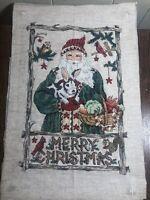 12 x 17 Counted Cross Stitch SANTA Christmas Wildlife Picture Handmade