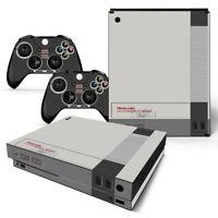 Xbox One X Console Skin Decal Sticker Old NES Retro + 2 Controller Custom Design