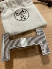 Classic HERMÈS 38MM Belt Buckle SILVER OPTIQUE 3D H With Pouch