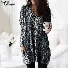 UK Womens Plus Size Batwing Tops Long Sleeve Leopard Ladies T-shirt Dress Blouse