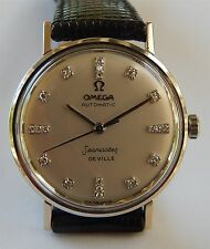 Omega SeaMaster De Ville Automatic Watch - 14K Solid White Gold Case & Diamond D