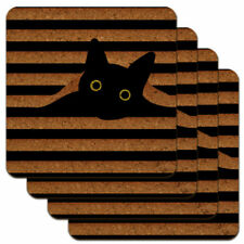 Black Cat In Window Low Profile Novelty Cork Coaster Set