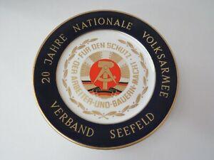 Ehrenteller Porzellan, Kobaldrand, 20 Jahre NVA, Verband Seefeld, 24,5cm
