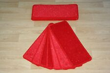 14 Red Glitter Stair Pads Carpet Stair Treads Red Sparkle Pad! Large Pads