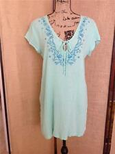 THE EASY LIFE  Seamfoam Green Embroidered Hippie Boho Peasant Top Cover Up LARGE