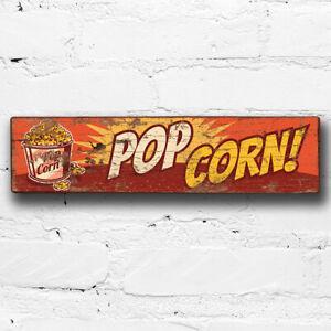 Popcorn 40cm Wood Sign Funfair Vintage Style Fairground Pop Corn Cinema Sign