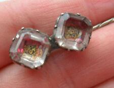 pink gold glass buttons jewellery pin Antique Georgian stuart crystal ? paste