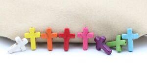 1 Stk. Howlith Perle natürl Kreuz 25x18x5,5mm Farbauswahl Schmuckstein Edelstein