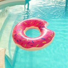 Giant Inflatable Pink Donut Rubber Ring with Bite Pool Float Lilo Toys.UK STOCK