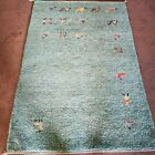 Green Wool Habitat Rug Carpet 72in x 49in