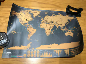 Travel Tracker Large Scratch Off World Map 40cm x 30cm with Tube