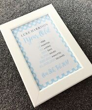 Personalised 1st Birthday Gift Frame Colour Choice- Baby's 1st Birthday Girl/Boy