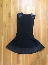 H&M Leather Detail Black A-Line Dress, Women's Size 4