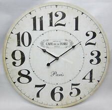 60cm French Provincial Cafe De La Toru Rustic Wall Clock Large Numbers New!
